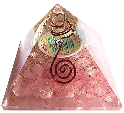 Orgonite pyramide fleur de vie Quartz rose