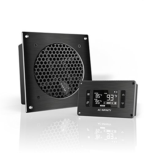 """AC Infinity AIRPLATE T3, Quiet Cooling Fan System 6"""" with Thermostat Control, for Home Theater AV Cabinets"""