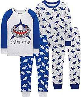 Image of Fun Long Sleeve Blue Shark Pajamas for Boys - 2 Pack - See More Shark PJ Designs