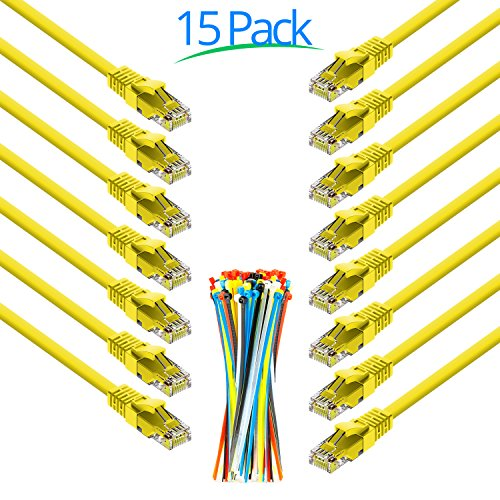 Maximm Cat6 Snagless Ethernet Cable - 0.6 Foot - Yellow - [15 Pack] - Pure Copper - UL Listed - Cable Ties Included