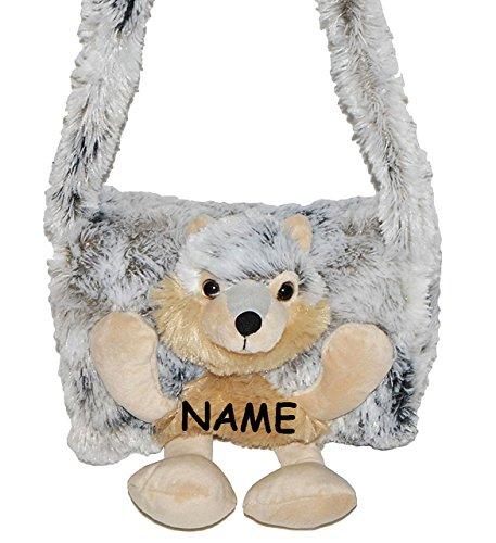 alles-meine.de GmbH weicher Muff -  Hund Husky / Wolf  - incl. Name - mit extra Tasche - für warme Hände - Kinder Kindermuff - Tiere - zum Umhängen - für Mädchen und Jungen / w..
