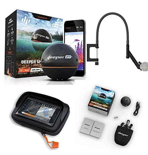 Deeper Smart Sonar Pro + Plus WiFi + GPS Echolot Fischfinder + Flexarm Echolothalter + Case XL
