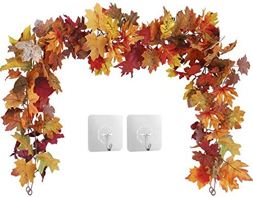 2 Pack Fall Maple Leaf Garland Hanging Fall Leaves Vine Artificial Autumn Garland Thanksgiving product image