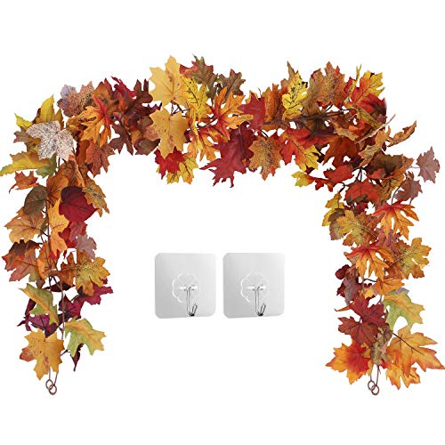OUTLEE 2 Pack Fall Maple Leaf Garland Hanging Fall Leaves Vine Artificial Autumn Foliage Garland Thanksgiving Decor for Home Wedding Party Christmas