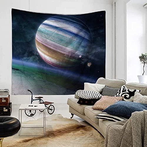 GGSDDU Cielo Estrellado Planeta Tapiz De Galaxia Psicodélico Trippy Hippie Boho Tapiz Estético Colgante De Pared Arte Decoración Tapices Para Dormitorio Sala De Estar,60' x 52' (150×130 cm)