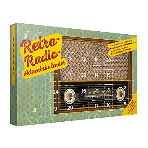 Monsterzeug UKW Radio - Adventskalender mit Bauteilen, DIY Retroradio Bastel-Set - 38,5 x 21,5 x 2 cm