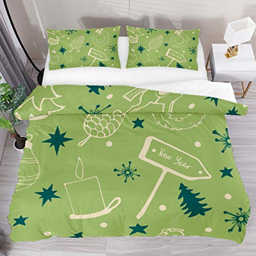 Christmas Tree Pattern Green 3 Piece Duvet Cover Set Full Size 79'x90' Soft Quilt Cover Decorative Bedding Sets 1 Duvet Cover 2 Pillowcase Polyester Bedspread