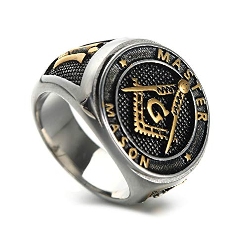 Adisaer Bandring Weissgold Herren Ring Edelstahl Freimaurerei 17mm Breit Siegelring Silber Gold Ring Gr. 70 (22.3)