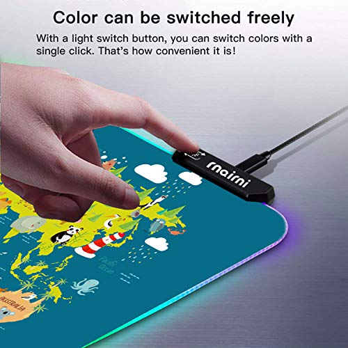 rnairni RGB Soft Gaming Mouse Pad Large, Oversized Glowing Led Extended Mousepad ,Non-Slip Rubber Base Computer Keyboard Pad Mat,31.5X 15.8in (Cartoon World Map) Photo #6