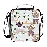 Bolsa térmica para el almuerzo, con diseño de perezoso, con correa para el hombro, ideal para mujeres, hombres, niños, niñas, grandes bolsos de oficina, escuela