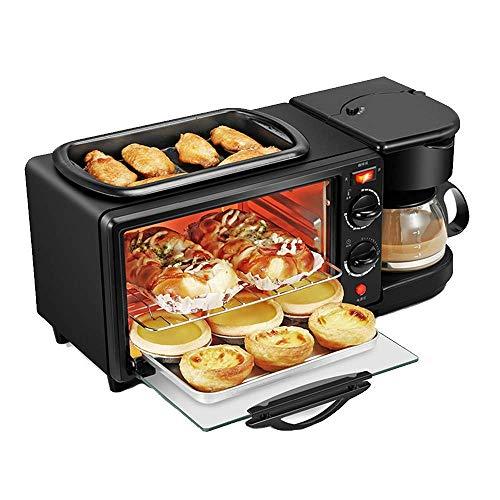 3 en 1 Máquina eléctrica desayuno, freír multifunción recipiente for hornear mini horno y la tetera por Freír el huevo Pan Tostado de café Haciendo 1125 WTZ012