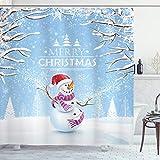 ABAKUHAUS Weihnachten Duschvorhang, Snowy-Winter-Noel, Waschbar & Leicht zu pflegen mit 12 Haken Hochwertiger Druck Farbfest Langhaltig, 175 x 200 cm, Weiß Blauen