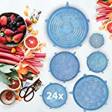 24ud Pack |Tapas de silicona ajustables | Cubierta elástica para botes de cocina | 6 tamaños diferentes