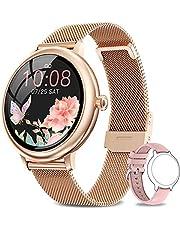 NAIXUES Smartwatch voor dames, waterdicht, 67, slaapmonitoring en calorieënteller, 7 sportmodi, intelligente meldingen, sporthorloge voor dames voor Android iOS