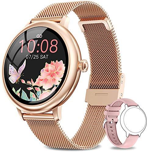 NAIXUES Smartwatch Mujer, Reloj Inteligente Impermeable 67, Monitor de Sueño y Caloría Pulsómetro, 7 Modos de Deportes, Notificaciones Inteligentes, Reloj Deportivo Mujer para Android iOS
