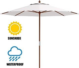 Tangkula Patio Umbrella Height Adjustable Wood Pole Outdoor Sun Shade Beige (10ft)