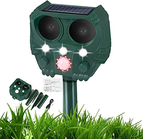 Cat Repellant Garden, Ultrasonic Fox Repellent, Solar Powered & Waterproof Animal Deterrent, Flashing Light and USB Charge, Outdoor Farm Garden Yard, Effective for Cats, Dogs, Foxes, Birds, Skunks