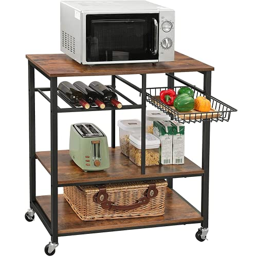 PiuShopping Scaffale per Cucina Salvaspazio in Legno, Porta Microonde, con Ripiani, Design Industriale - 80x40x86h