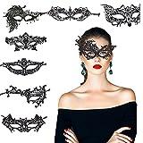 KAKOO 8 Modell Venezianische Maske Sexy Damen Spitze Augenmaske Gothic Maskerade Gesichtsmasken für Maskenball Kostüm Karneval Party Schwarz