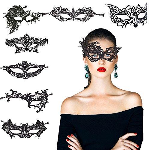 8 pcs máscara encaje negro de KAKOO de modo diferente suave