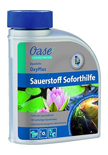 OASE 43153 AquaActiv OxyPlus Sauerstoffsoforthilfe Wasserpflege 500 ml - langanhaltender Wasseraufbereiter mit Depotwirkung zur Erhöhung von Sauerstoff im Schwimmteich Gartenteich Koiteich Fischteich
