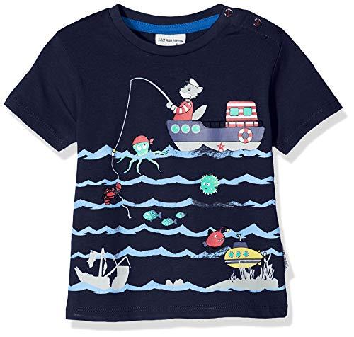Salt & Pepper Baby-Jungen 03212104 T-Shirt, Blau (Navy 498), (Herstellergröße: 86)