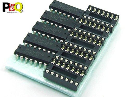 POPESQ® - 5 Stk. x 74HC14 Schmitt Flipflop mit Sockel / 5 pcs. x 74HC14 Schmitt Flipflop with Socket #A2136