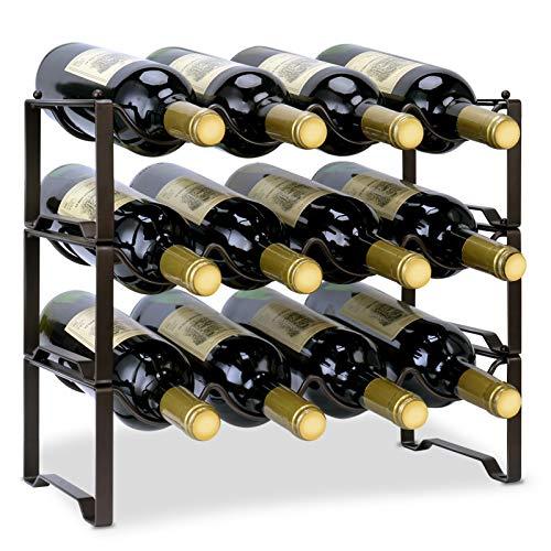 Auledio - Estante de vino apilable de 3 niveles, organizador de botellas de metal, soporte para almacenamiento de vino pequeño, estante de vino, soporte independiente, 12 botellas...