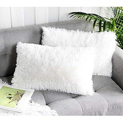 Uhomy 2 Packs Home Decorative Super Soft Luxury Series Plush Faux Fur Throw Pillow Cover Cream White Cushion Case for Sofa/Bed Livingroom 12x20 Inch 30x50 cm