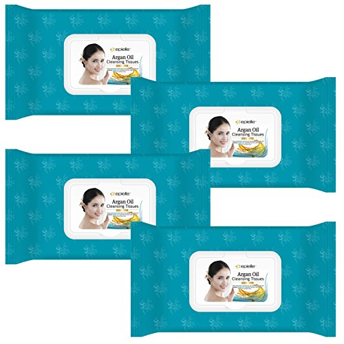 Epielle Argan Oil Facial Makeup Remover Cleansing Tissues Wipes Towelettes - 60ct (Sheets) per pack, Total 4 packs