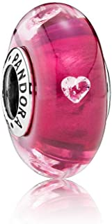 Pandora Women's Sterling Silver Cerise Heart Glass Charm - 791664PCZ