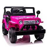 TOBBI Customized 12V Kids Ride On Truck Car with LED Lights Horn Openable Doors, Electric Vehicle Toy for Kids, Pink and Black