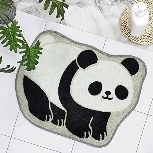 "pandaonly Tapis de Bain Mignon, 17,3 ""x 22,4"" Tapis de Salle de Bain en Forme de Panda Tapis Anti-dérapant en Microfibre Shaggy, Absorbant l"