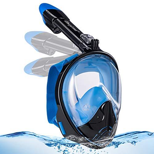 GlowsLand Maschera Snorkeling 180°Vista Panoramica, Boccaglio Maschera Professionale Snorkel Mask Anti-Appannamento, Anti-Infiltrazioni, con Supporto per Fotocamera Sportiva, per Adulto 2019