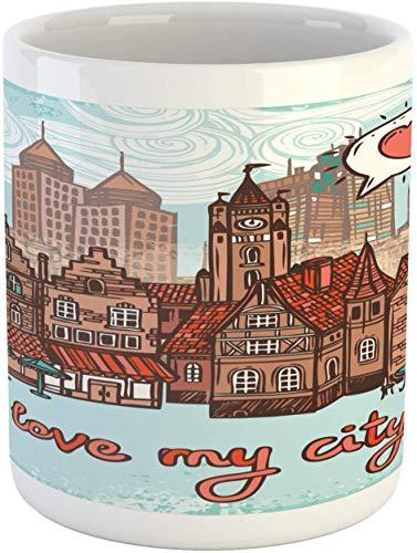 City Mug, tazza da caffè in ceramica con scritta'I Love My City Hallmarks', moderna e antica, per acqua e tè, 11 oz, ruggine pallido turchese