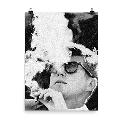 John F Kennedy Cigar and Sunglasses Black and White Poster