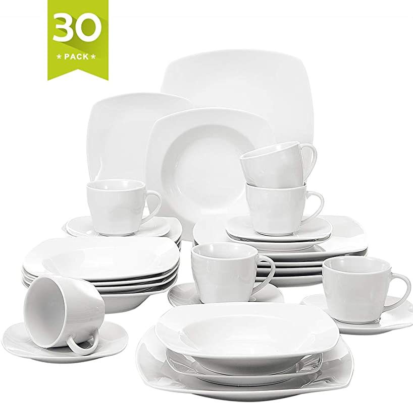 Malacasa 30 Pieces Dinnerware Set Square Dishes White Includes 6 Dinner Plates 6 Soup Plates 6 Dessert Plates 6 Mugs And 6 Saucers Service For 6 Series Julia