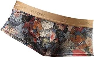 D DOLITY Comfy Mens Underwear Retro Flower Print Boxer Briefs Bulge Pouch Shorts