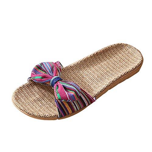 Sandalen Damen Sommer Frauen Sandalen Beiläufiger Japanischer Stil Hausschuhe Einfach Nachahmung Leinensohle Pantoletten Peep Toe Flache Strandschuhe Kuschelige Cool Outdoorsandalen