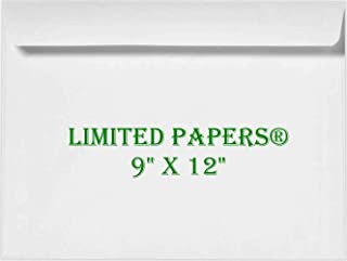 "Limited Papers (TM) 9 x 12 Booklet Envelope - Open Side - 28# White - (9 x 12) - Large Envelope Series (Jumbo) 9""x12"" White"