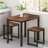 MIERES Small Dining Table Set for 2 - Kitchen Room Furniture   Compact Design   Sturdy Structure   Easy Assembly   Height 30'', Rustic Brown, Stools