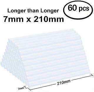 Lnkey 60pcs Barras de silicona transparente (7x210 mm) para pistola de pegamento , extra largas barras de pegamento termofusible