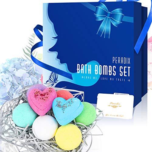 Badebomben Geschenk set für Valentinstag Muttertag, Peradix Bath bombs badeperlen badekugel reich an ätherischen Ölen natürliche organische Düfte für Freundinnen Frauen Mütter Herren