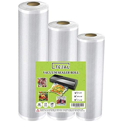 """Vacuum Sealer Bags for Food Saver Vacuum Sealer Bags Rolls 8"""" x 10' 10"""" x 10' 11"""" x 10' 3 Pack Vacuum Seal Bags for Food Fit TEJAL Vacuum Sealer Sous Vide Bags Food Storage Bag Roll Vac Storage"""