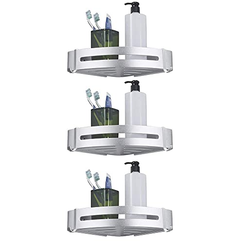 BESy Shower Corner Caddy Bathroom Shower Corner Shelf With Two Hooks, Self  Adhesive With Glue