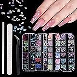 Kit de decoración de uñas con perlas redondas, colores y diamantes de imitación con varias formas, para uñas, ropa, cara, manualidades, con pinzas, puntero y lima de uñas