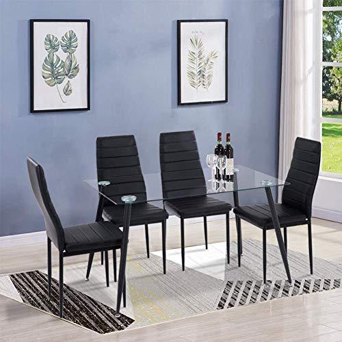 GOLDFAN Esstisch Glas mit 4 Schwarz Stühlen Essgruppe Wohnzimmertisch und 4 Stuhl küchentisch Tische Set