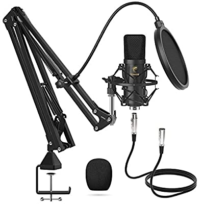 XLR Condenser Microphone, TONOR Professional Cardioid Studio Mic Kit with T20 Boom Arm, Shock Mount, Pop Filter for Recording, Podcasting, Voice Over, Streaming, Home Studio, YouTube (TC20) by TONOR