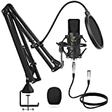 Microfono a Condensatore, TONOR Microfono Professionale Cardioid XLR con Braccio T20, Supporto Antiurto, Filtro Pop per Registrazione, Podcasting, Voice Over, Streaming, Home Studio, YouTube (TC20)