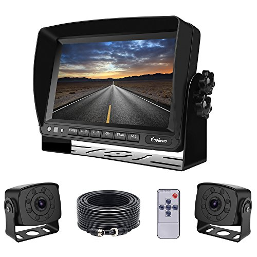 Dual Backup Cameras and Monitor Kit Wired for Van, RV, Semi Truck, 2 Upgraded 175º Wide View Infrared Waterproof Rear View Cams with 7 Inch Adjustable Display